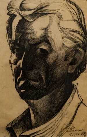 'Self-Portrait', 1987, coal on paper