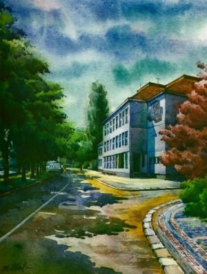 Secondary School No.3 1996 watercolour