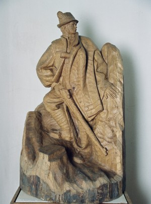 Mykola Shuhai, 1972, wood, high relief, round sculpture