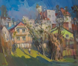 Uzhhorod yard, 2016, oil on canvas 33