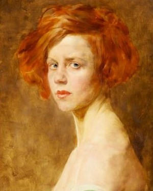 Red-Haired Girl, oil on wood, 50x40