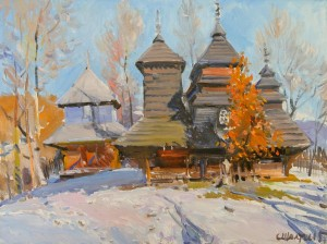 "S. Sholtes ""The Church in Uzhok Village"" 2015, oil on canvas"