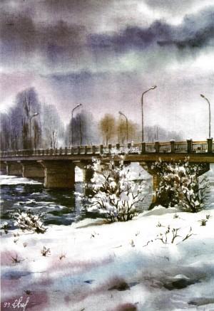 Transport bridge over the River Uzh 1999 watercolour