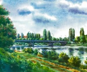 Transport bridge 1996 watercolour