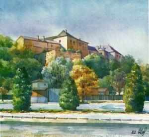 Uzhhorod Castle 1996 watercolour