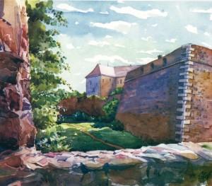 Uzhhorod Castle.Regional Local History Museum watercolour