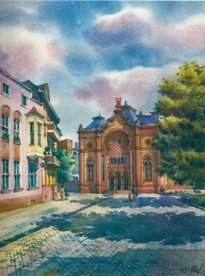 Філармонія (синагога), 1995, акв.