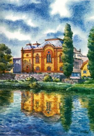 Філармонія (синагога), 1997, акв.