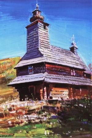 Шутєв І. Фарна греко-католицька церква, 2001, с. Буківцьово, кар.о., 60х40