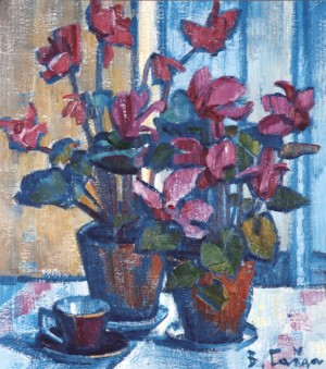 Cyclamens, 1981, oil on canvas, 55x48
