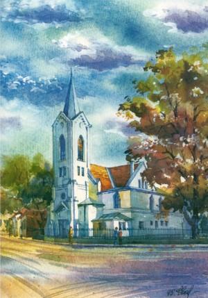 Seventh-day Adventist Church 1995 watercolour