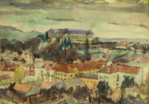 View Of Uzhhorod Castle, 1947, whatman, watercolour, 43,5х59,5