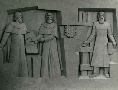 Triptych «Famous figures. Modernity», 1989, relief, gypsym model